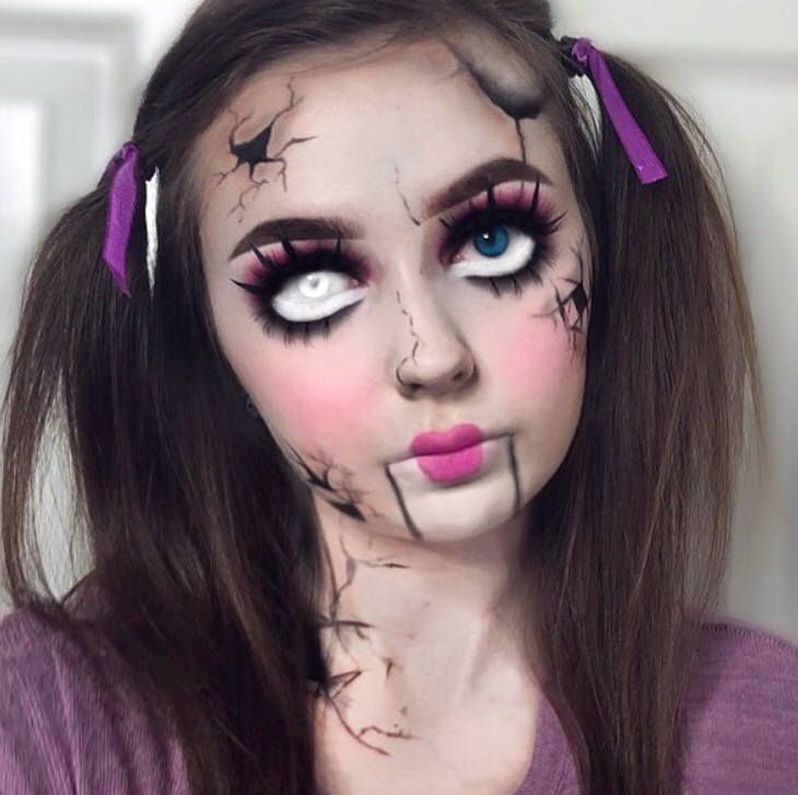 Broken doll makeup