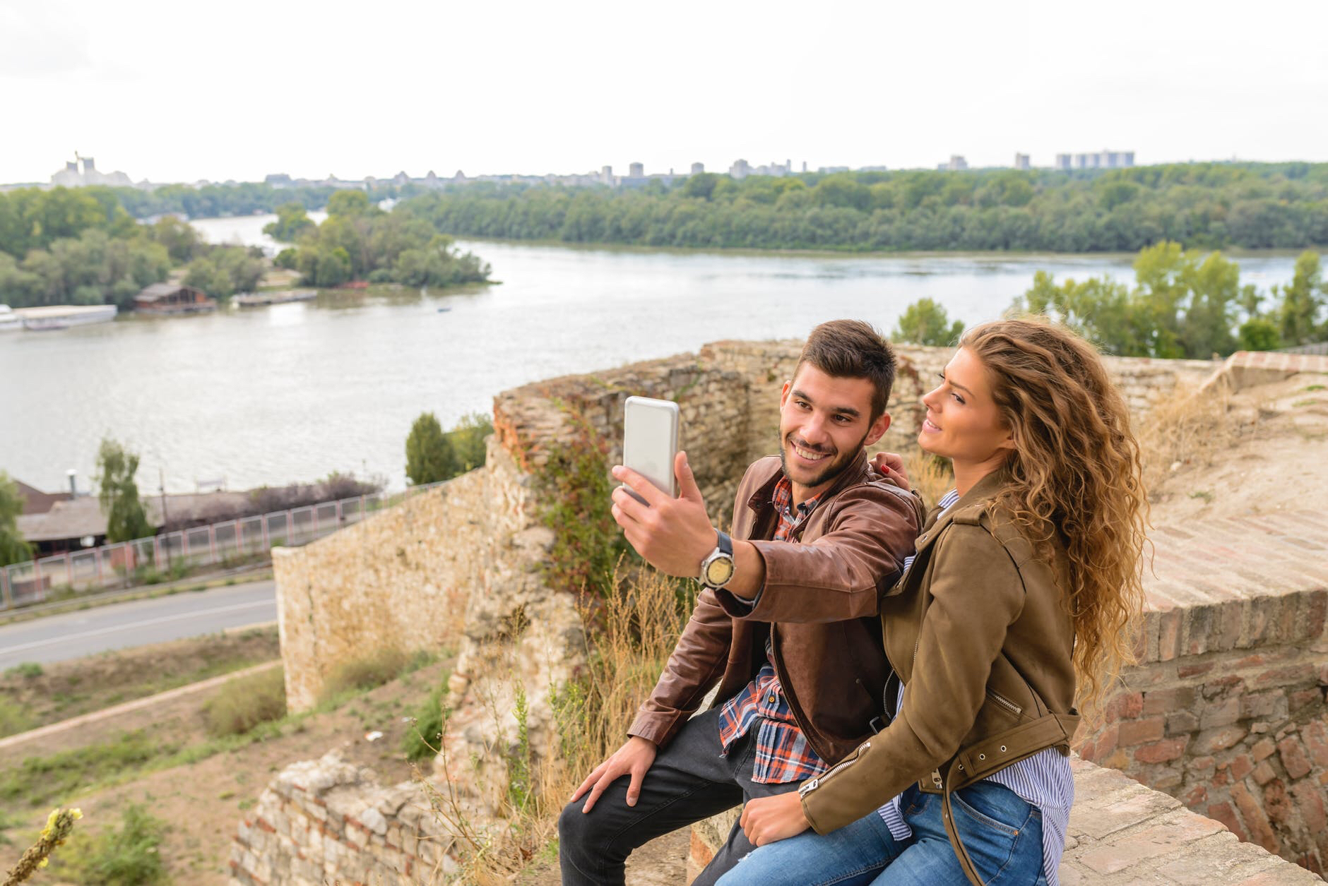 Couple takes a selfie
