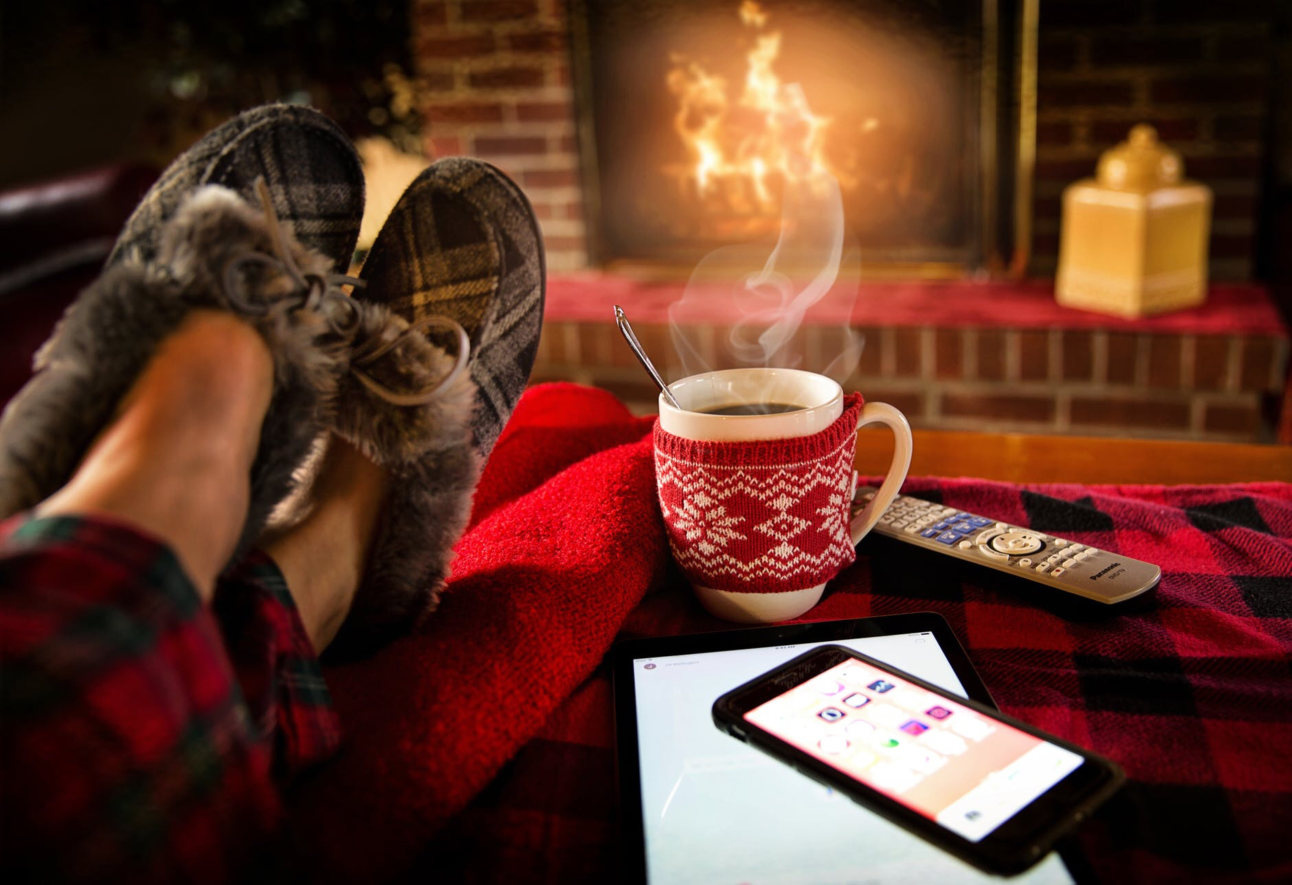 Cosy slippers sitting by the fire in the perfect home