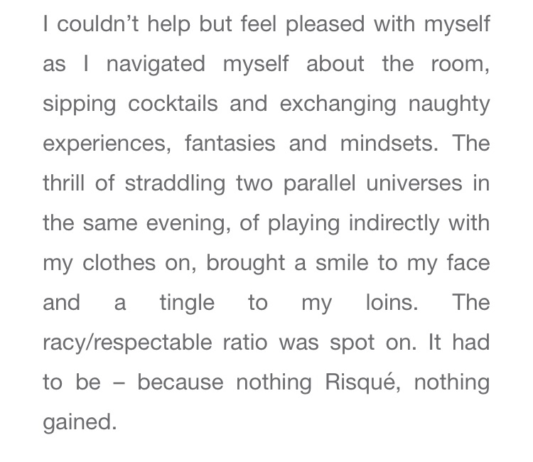 Risqué London sex party review as a single woman by Lena Hulderic