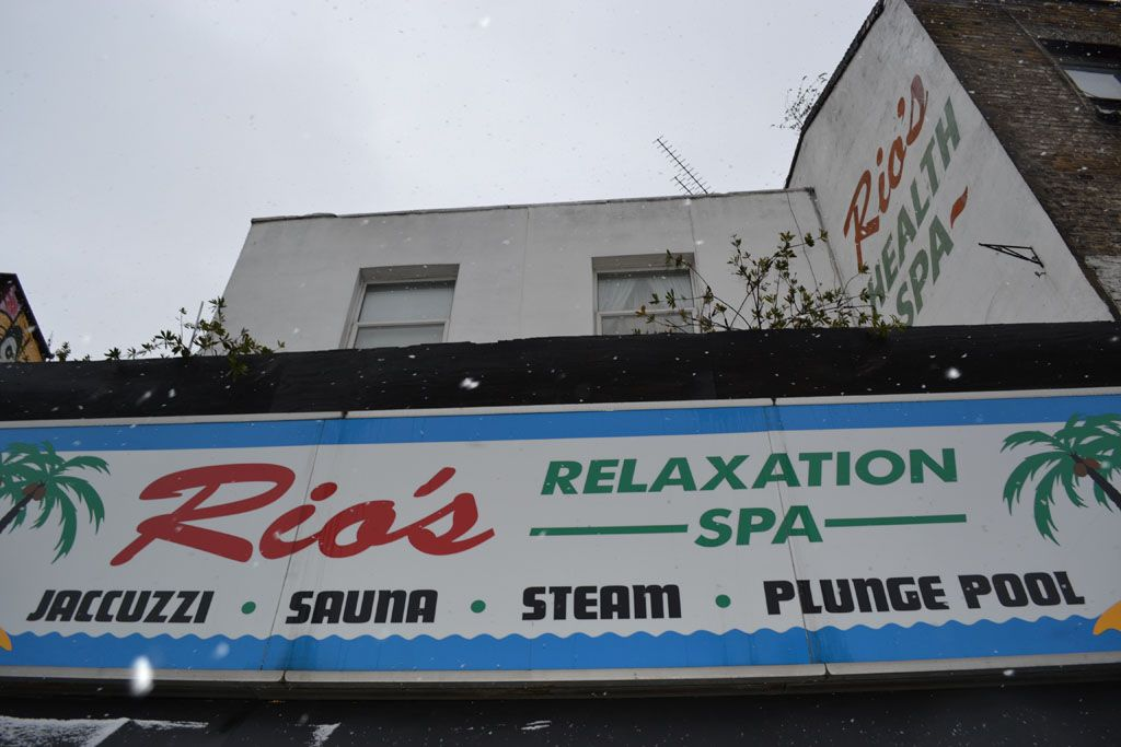 Rios naturist spa sign, Kentish Town London