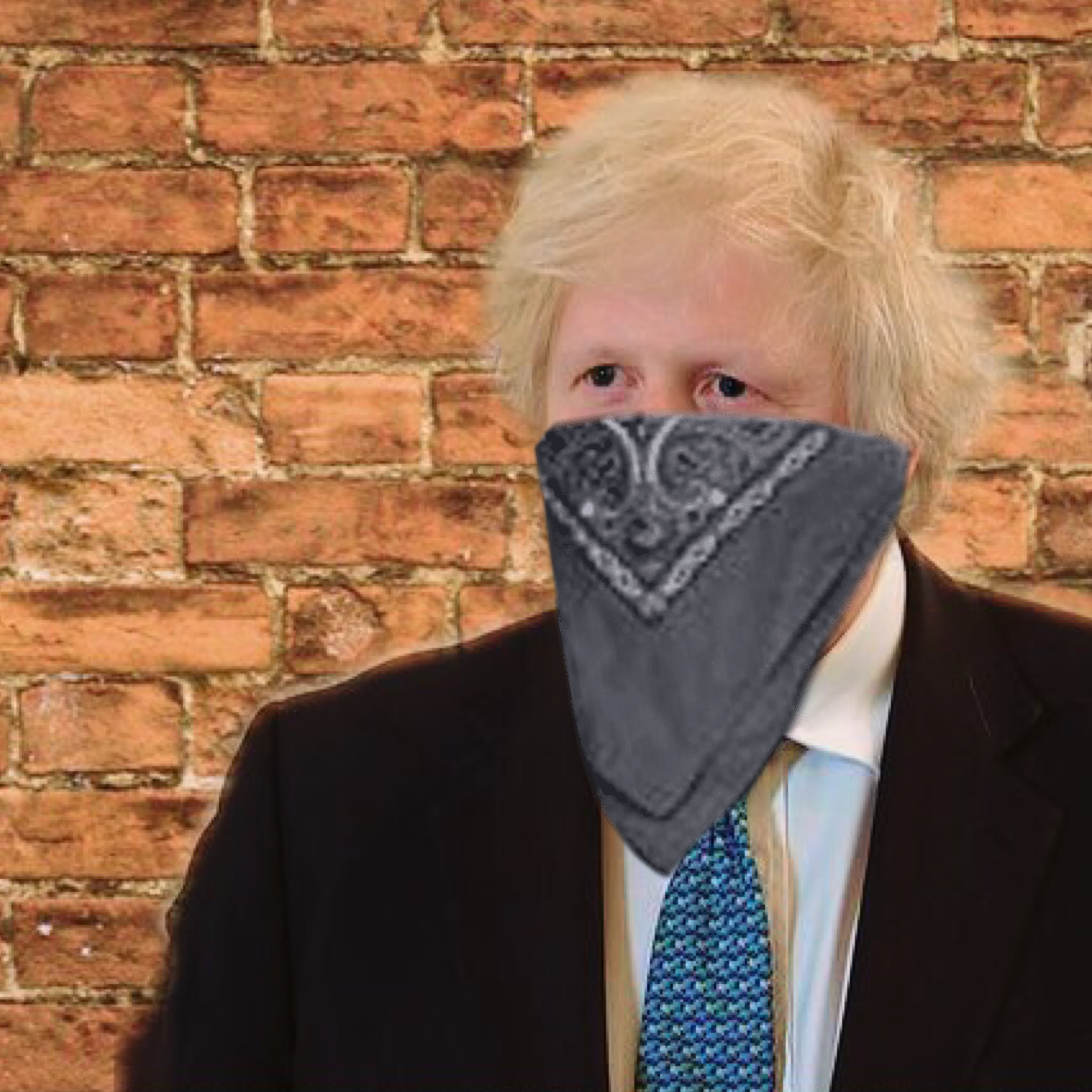 Blond uses a bandana as a face mask
