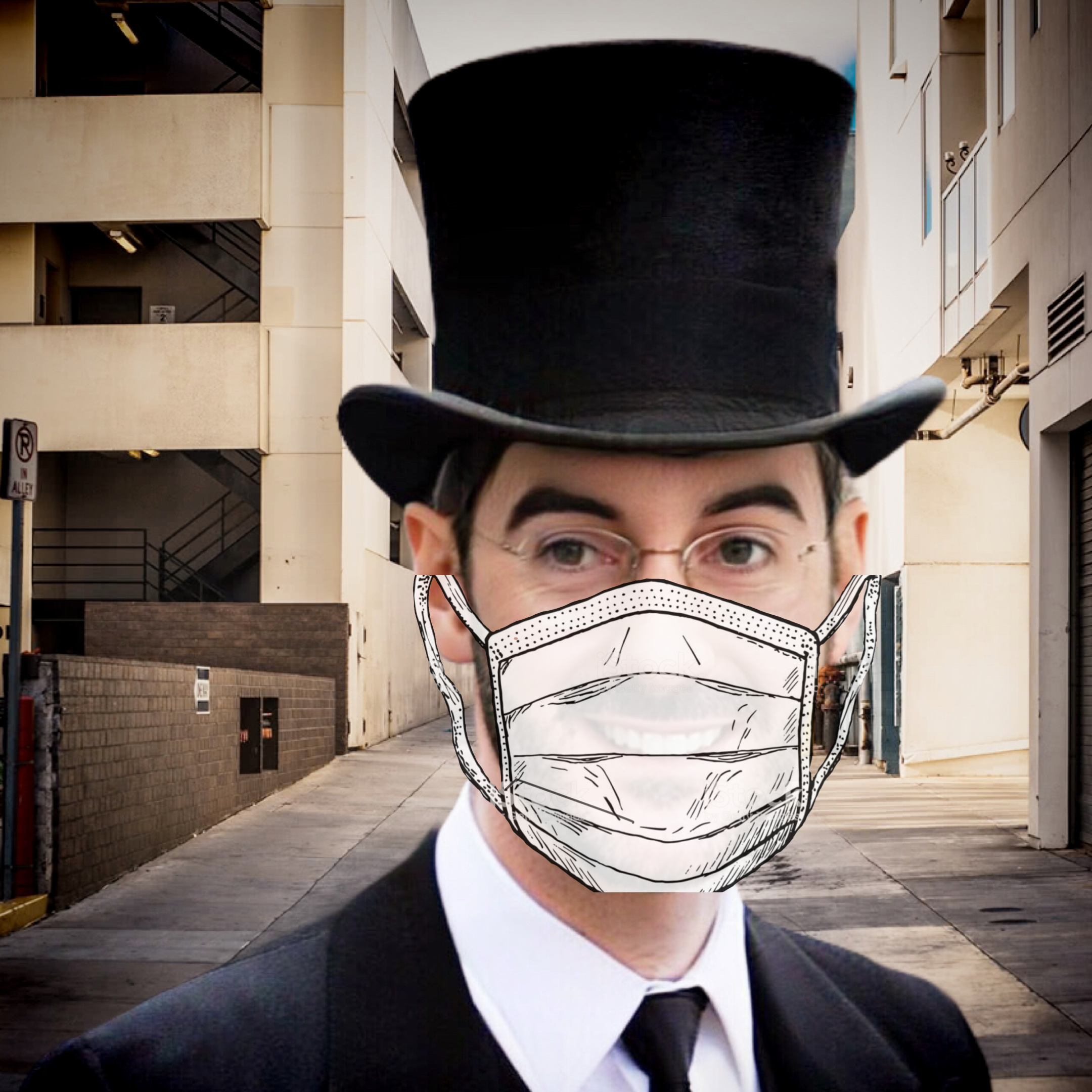 Dapper gent in a top hat and face mask